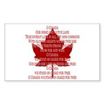 Canada Anthem Souvenir Rectangle Sticker