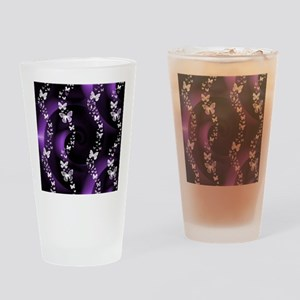 Purple Butterfly Swirl Drinking Glass