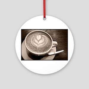 cappuccino art Round Ornament
