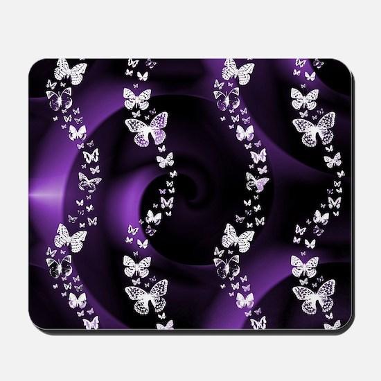 Purple Butterfly Swirl Mousepad