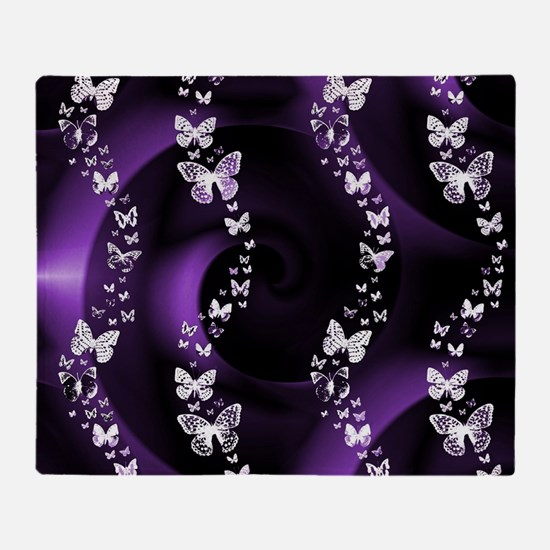 Purple Butterfly Swirl Throw Blanket