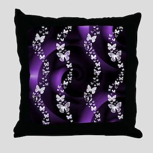 Purple Butterfly Swirl Throw Pillow