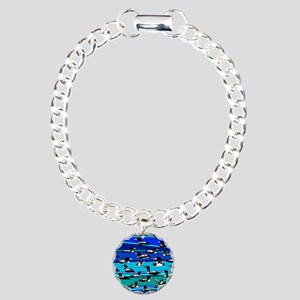 Loons on blue Charm Bracelet, One Charm