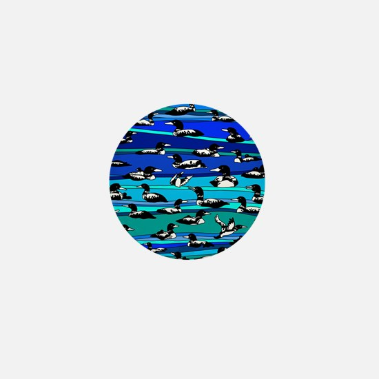 Loons on blue Mini Button