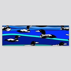 Loons on blue Sticker (Bumper)
