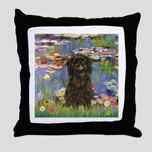 Monet's Lilies & Affenpinsche Throw Pillow
