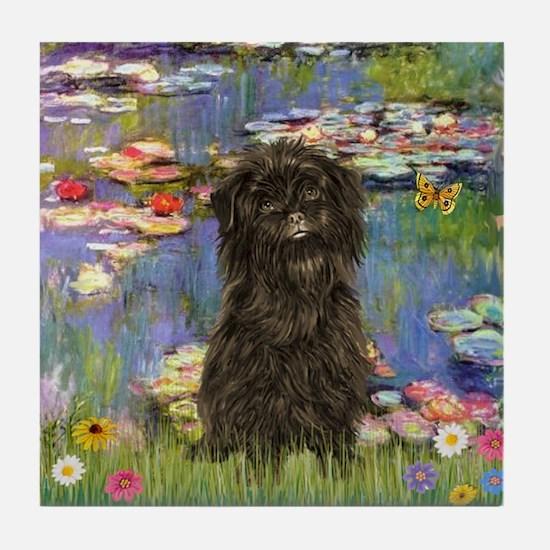 Monet's Lilies & Affenpinsche Tile Coaster