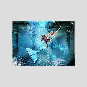 Cute mermaid 5'x7'Area Rug