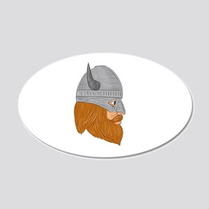Viking Warrior Head Right Side View Drawing Wall D