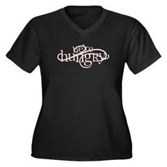 We're Hungry Women's Plus Size V-Neck Dark T-Shirt