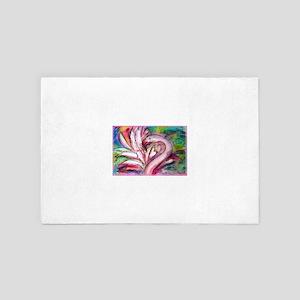 Flamingo, colorful, fun, art! 4' x 6' Rug