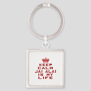 Keep Calm and Jai Alai Square Keychain