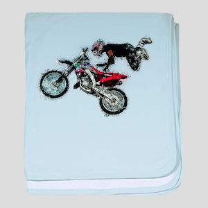 Motocross Jump Paint Splatter baby blanket