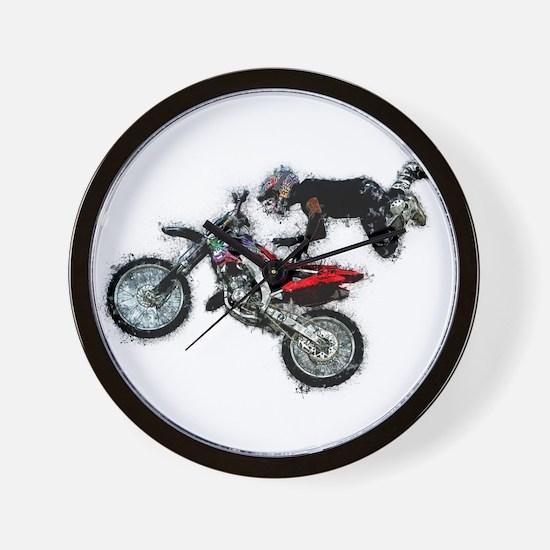 Motocross Jump Paint Splatter Wall Clock