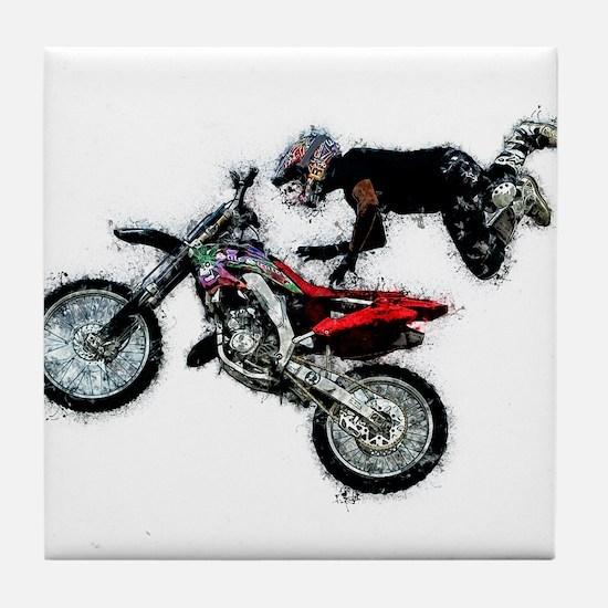 Motocross Jump Paint Splatter Tile Coaster