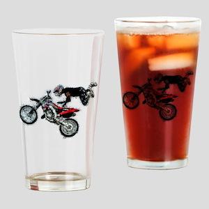 Motocross Jump Paint Splatter Drinking Glass