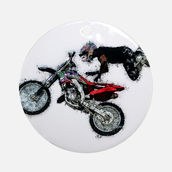 Motocross Jump Paint Splatter Round Ornament