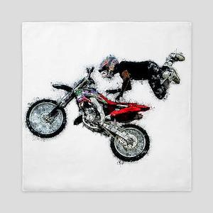 Motocross Jump Paint Splatter Queen Duvet