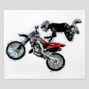 Motocross Jump Paint Splatter King Duvet