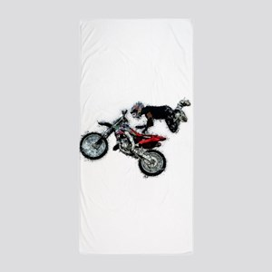 Motocross Jump Paint Splatter Beach Towel