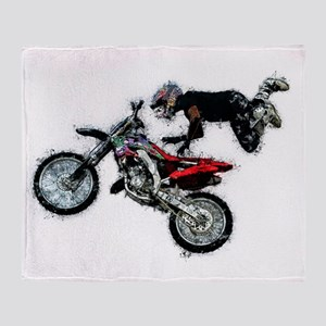 Motocross Jump Paint Splatter Throw Blanket