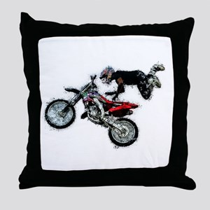 Motocross Jump Paint Splatter Throw Pillow