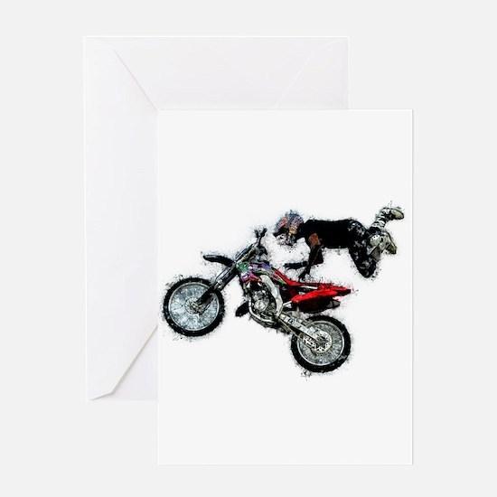 Motocross Jump Paint Splatter Greeting Cards