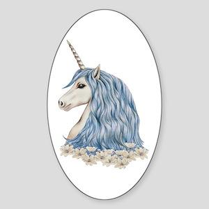 White Unicorn Drawing Sticker (Oval)