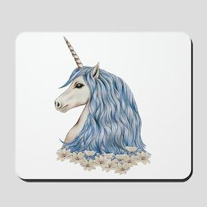White Unicorn Drawing Mousepad