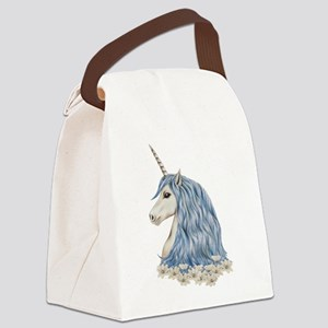 White Unicorn Drawing Canvas Lunch Bag