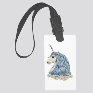White Unicorn Drawing Large Luggage Tag
