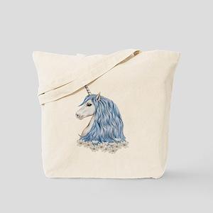 White Unicorn Drawing Tote Bag