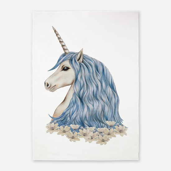 White Unicorn Drawing 5'x7'Area Rug