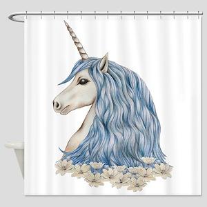 White Unicorn Drawing Shower Curtain