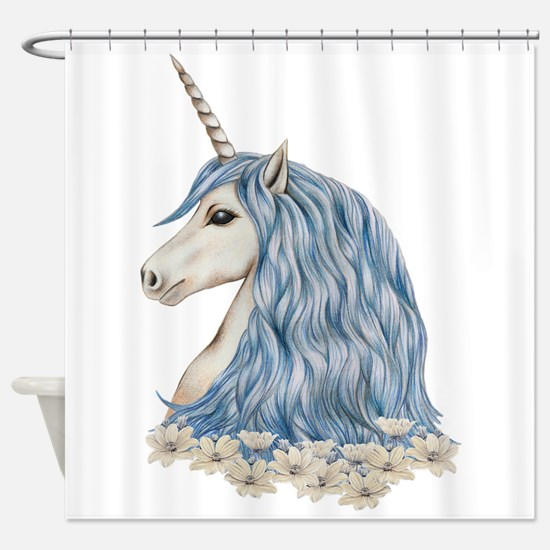 White Unicorn Drawing Shower Curtain