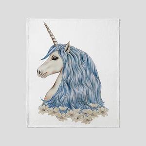 White Unicorn Drawing Throw Blanket