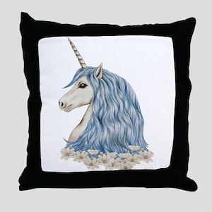 White Unicorn Drawing Throw Pillow