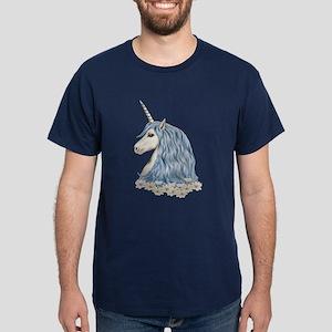 White Unicorn Drawing Dark T-Shirt