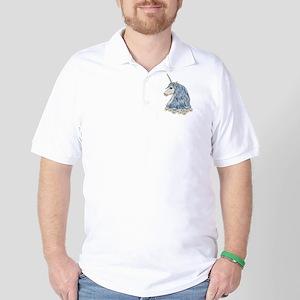 White Unicorn Drawing Golf Shirt