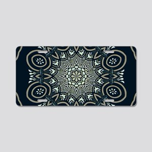 Ornate Exotic Mandala in Bl Aluminum License Plate