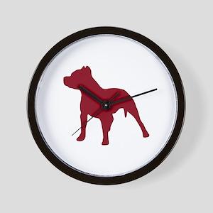 Pitbull Dk Red 1C Wall Clock