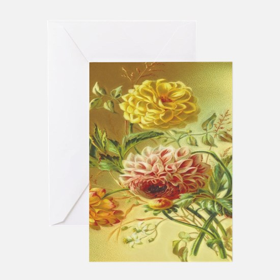 Jasmine Dahlia Vintage Flowers Greeting Cards