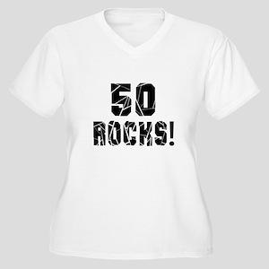 50 Rocks Birthday Women's Plus Size V-Neck T-Shirt
