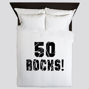 50 Rocks Birthday Designs Queen Duvet