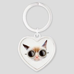 Coffee Cat Heart Keychain