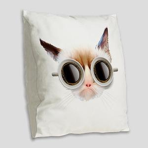 Coffee Cat Burlap Throw Pillow