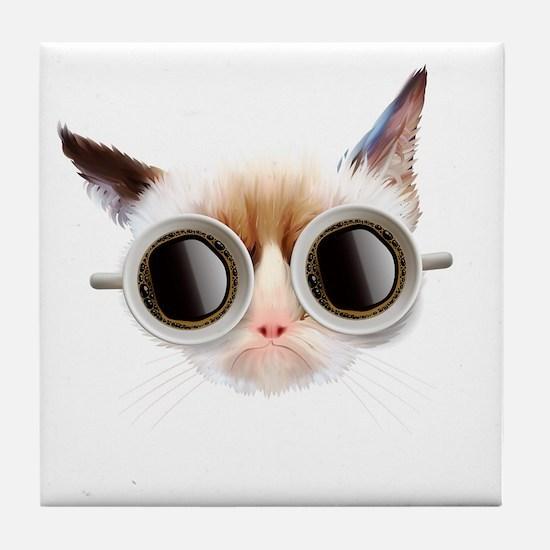 Coffee Cat Tile Coaster