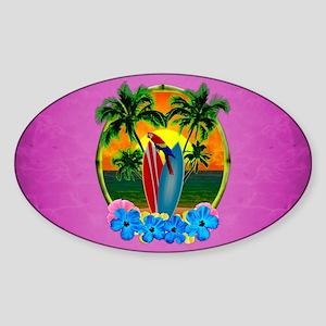 Tropical Surfing Sunset Pink Sticker