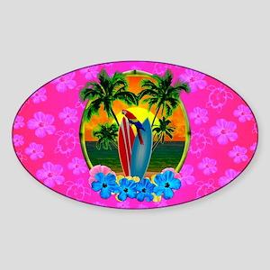 Tropical Surfing Sunset Pink Flower Sticker