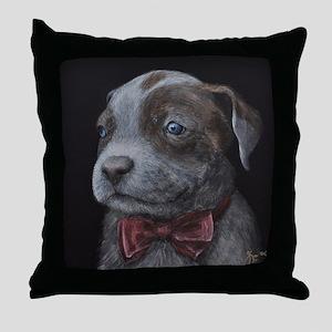 Dapper Pit Bull Puppy in a Bowtie Throw Pillow